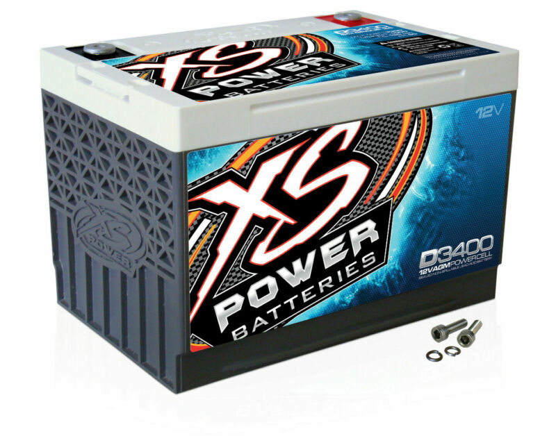 XS Power D3400 12 Volt AGM 3300 Amp Sealed Car Audio Battery/Power Cell+Terminal