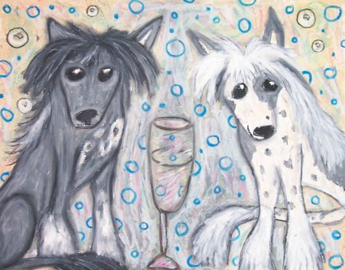 CHINESE CRESTED Drinking CHAMPAGNE Collectible Dog Art 8 x 10 Signed Print KSAMS