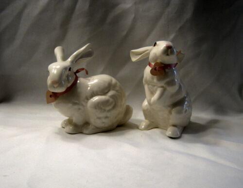 Rare Vintage Lasting Products Inc White Porcelain Bunny Rabbit Pair Figurines