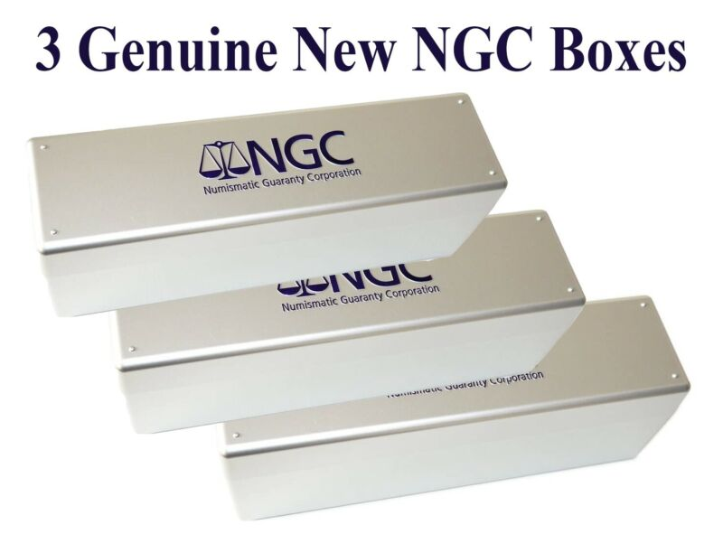 3 New Silver NGC Plastic Storage Coin Slab Boxes Each Hold 20 Certified Coins