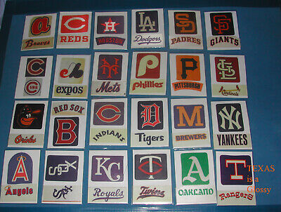 1973 - 75 FLEER CLOTH BASEBALL TEAM STICKER PATCH SET (AFFIXED TO CARD - Fleer Baseball Sticker
