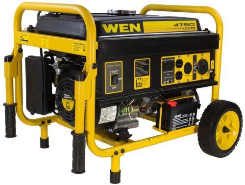 WEN 4750-W Portable RV Ready Gas Powered Electric Start Generator with Wheel Kit