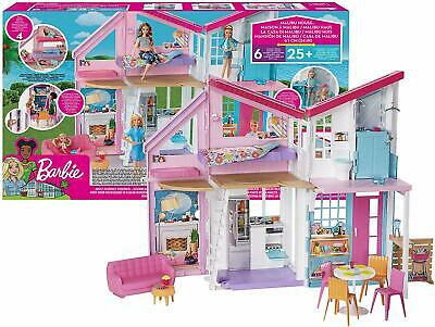 Barbie Home Malibu Of House 2 Tier Foldable with Furniture And Accessories