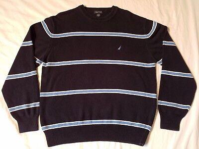 Vintage Nautica Woven Black Blue Striped Crewneck Sweater Mens Size XL