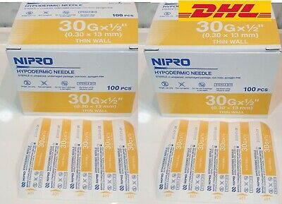 2box 30g 12 Nipro Hypodermic Needle Thin Wall 0.3x13 Mm Sterile Science Lab Ne