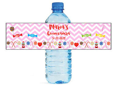 Candyland Themed Water Bottle Labels Weddings Birthday Engagement Party Sweet 16 - Candyland Party Theme