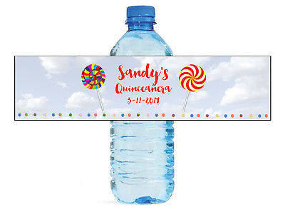Lollipops in The Sky Custom Water Bottle Labels, Great for Birthday, Sweet 16