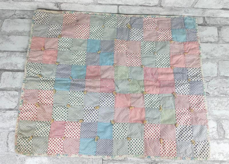 Vintage Hand Made Baby Patchwork Quilt Blanket Unisex Blue Pink Polka Dots 24x19