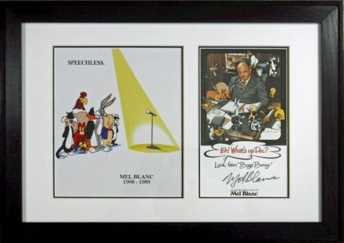 Mel Blanc signed card Speechless photo New Frame 21 x 15 Warner Bros