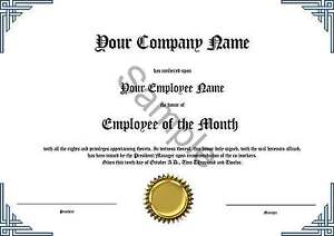 Employee of the Month Certificate * Novelty * Diploma