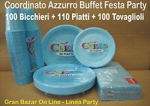 Piatti bicchieri tovaglioli azzurro 310 pz buffet for Piatti e bicchieri per feste bambini