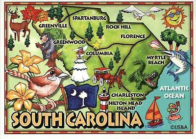 South Carolina Map, Myrtle Beach Hilton Head Island Lighthouse etc SC - Postcard