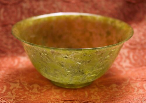 Antique Chinese Spinach Jade Turned and Carved Tea Bowl