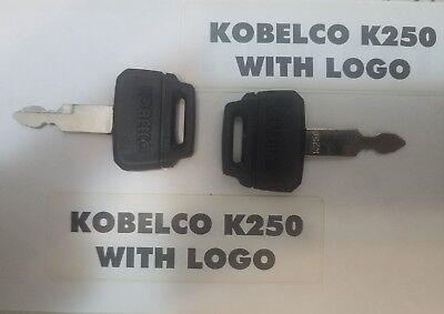 2 Kobelco K250 Excavator Heavy Equipment Key Logo Fits Case Kawasaki Ship Fast