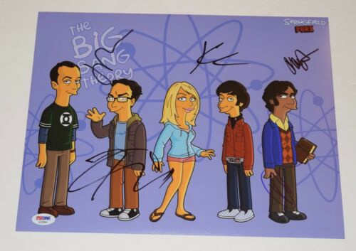 The Big Bang Theory Cast Signed 11x14 Photo x5 Jim Parsons Cuoco PSA/DNA COA