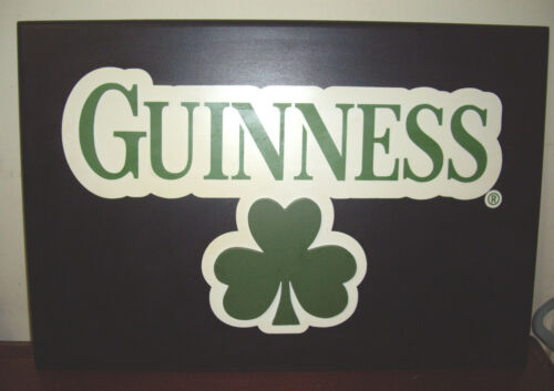 """19.25"""" x 13"""" Guinness Pub Wood Sign with Shamrock"""