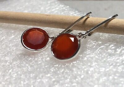 Sterling Silver Bezel Round Natural Sard Chalcedony Leverback Earrings 3.25TCW ()