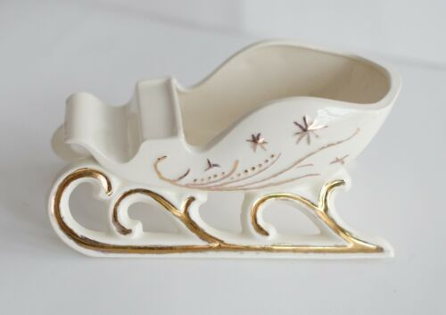 Vintage Holland Mold Christmas Sleigh White Gold, beautiful!