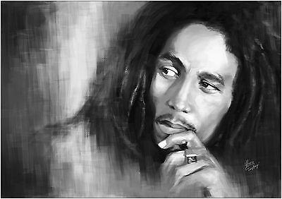 Bob Marley Large BOX CANVAS Art Print Black & White - All Sizes Canvas Art Print Box