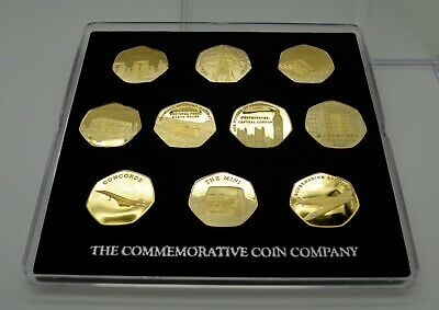 Full Sets of BRITISH & LANDMARKS & ICONS Gold Commemoratives in 50p Coin Case