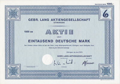 GEBR LANG AKTIENGESELSCHAFT  ETTRINGEN 1000 M.  AKTIE Giesecke & Devrient MUSTER