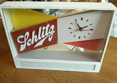 Vintage 1955 Lighted Schlitz Brewing Beer Sign with Clock