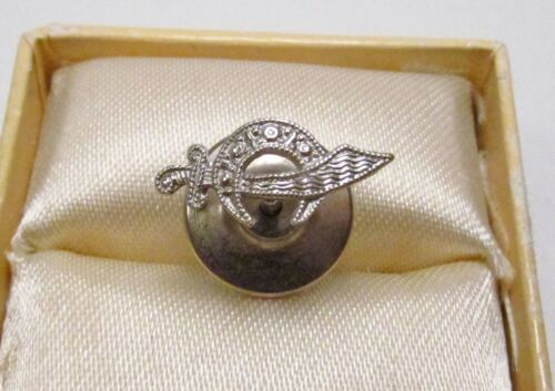 Vintage Shriners International 14K White Gold Art Deco Milgrain Small Lapel Pin