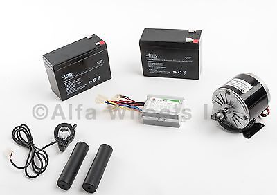 350w 24v Dc Electric Motor Kit W Batteries Speed Controller Thumb Throttle