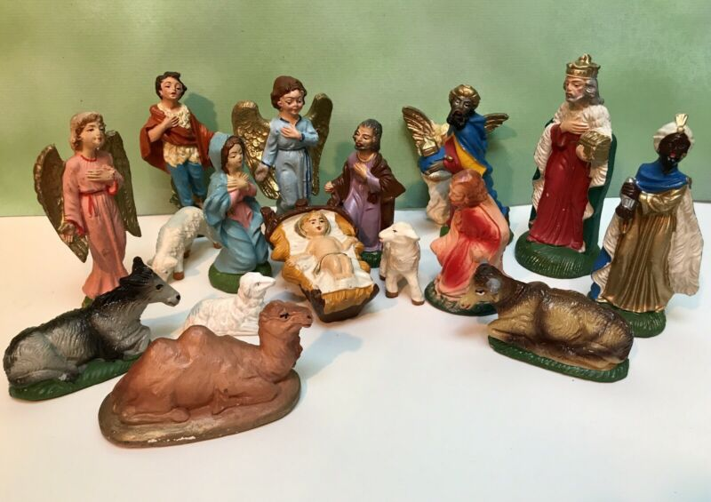 Vintage 17 Piece Christmas CRÈCHE Nativity Scene Chalkware  Made in ITALY