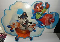 Vintage Very Rare HTF Disney's TaleSpin Large Battery Op Wall Clock 1990