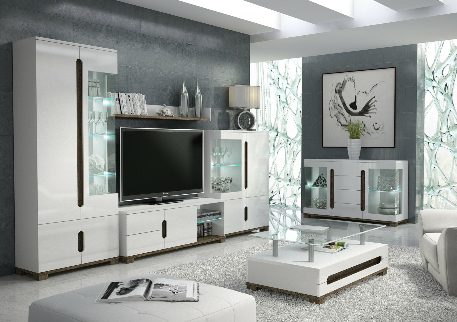 Lorenz High Gloss White Sideboard Tv Unit Tall Display Cabinet Lounge Furniture Ebay