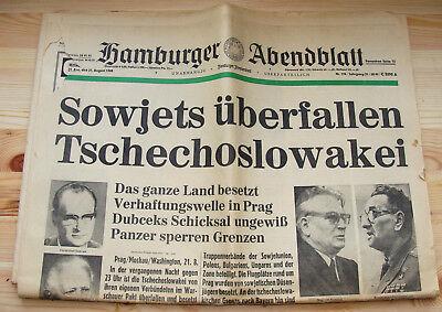 1968  GAMBURGER ABENDBLATT SOWJETS ÜBERFALLEN TSCHECHOSLOWAKEI