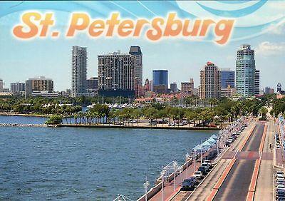 St. Petersburg Florida, Causeway and Downtown Buildings, Cars, FL --- Postcard