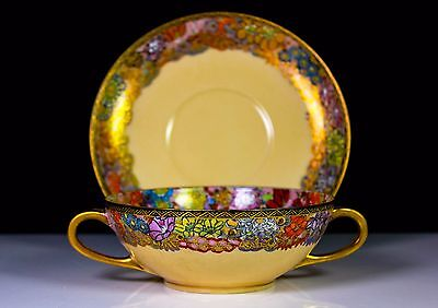 VINTAGE JAPANESE SATSUMA TWIN HANDLED CUP AND SAUCER HAND PAINTED FLOWER