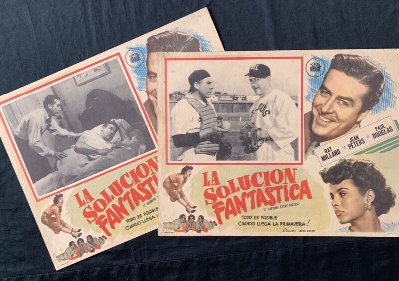IT HAPPENS EVERY SPRING Ray Milland Paul Douglas BASEBALL LOBBY CARDS MEXICAN 49