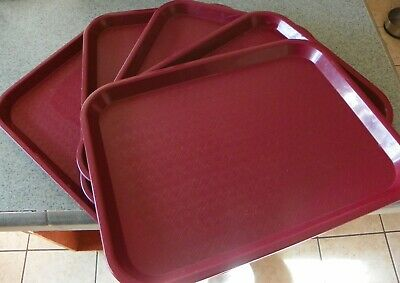 Lot Of 5 Silite 1014 Burgandy 10.75 X 14.75 Cafeteria Restaurant Food Tray