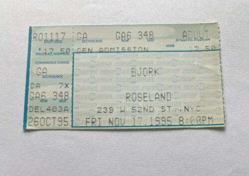 BJORK Concert Ticket Stub 11/17/1995 Roseland New York City, NY