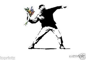 banksy flower throw stencil print canvas poster art painting Australia