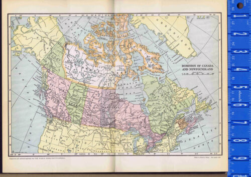 Dominion of CANADA & NEWFOUNDLAND Vintage COLOR MAP 1935