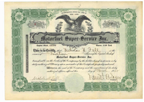 Motor Fuel Super Service, Inc. Stock Certificate. New York. 1922