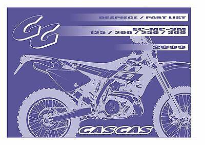 Gas Gas Parts Manual Book Chassis & Engine 2003 SM 125, SM 200, SM 250 & SM 300