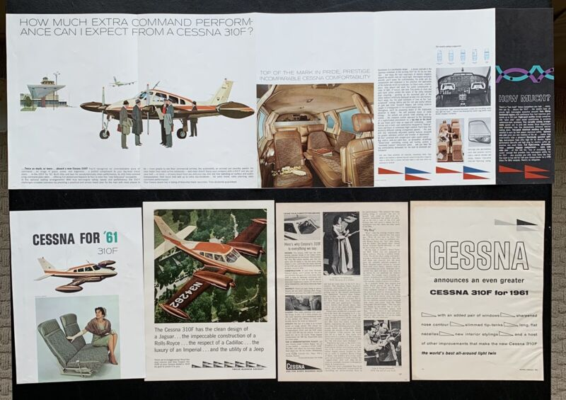 Vintage Cessna Aircaft Performance Specifications Equipment Material Paper