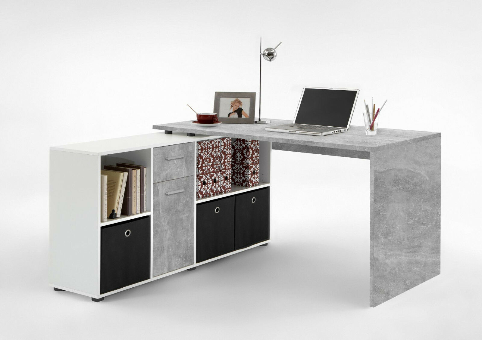 Corner Desks with Drawers White gloss or Oak L Shaped ...