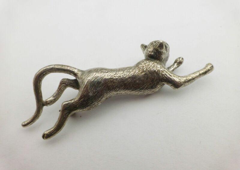 Metropolitan Museum of Art MMA 925 Sterling Silver Running Kitty Cat Brooch Pin