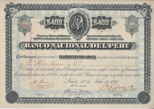 Peru 1881 Banco Nacional Perú 400 soles share certificate stock bond