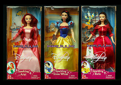 SPARKLING Ariel Doll Belle Snow White Beauty and the Beast Disney Princess Lot 3 - Belle And Snow White