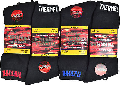 12 Pairs Men's Black Thermal Socks, Thick Warm Work Boot Socks Size 6-11