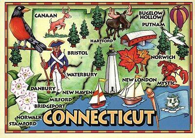 Connecticut Map Hartford Mystic Bristol Lighthouse Covered Bridge etc - - Mystic Bridge