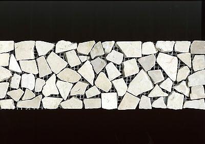 Creme Fliese (Fliese Bordüre Mosaik beige creme Marmor Bruchstein Crema Marfil 10x30cm)