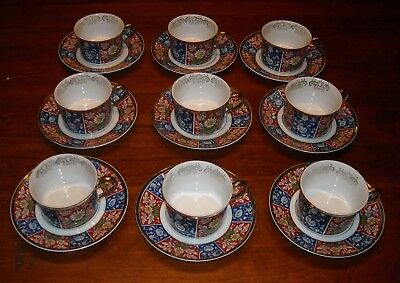 Empress China (Japan) Set of NINE CUPS & SAUCERS Imari Pattern Gold Trim